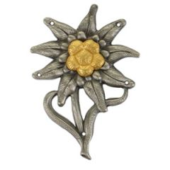 M43 Edelweiss Cap Badge (Officer) - Aged