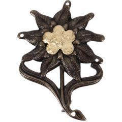Gebirgsjager Enlisted Man's Edelweiss Cap Badge - Pin back type